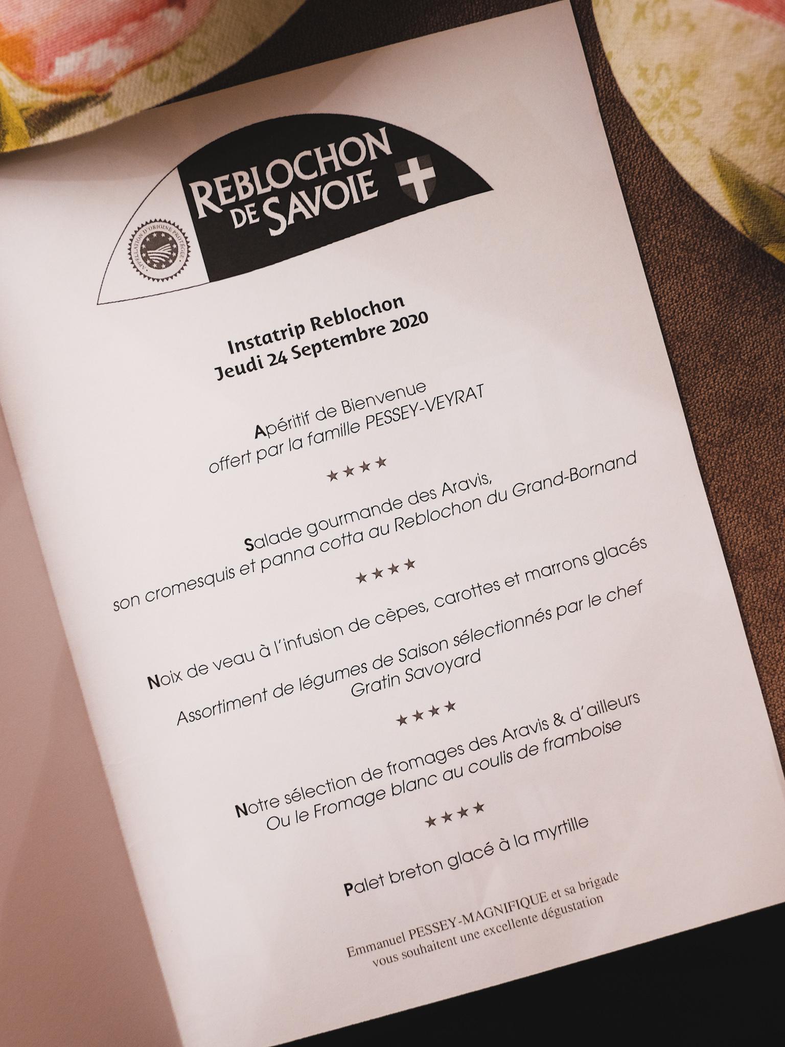 Menu Les Sapins Manigod Reblochon